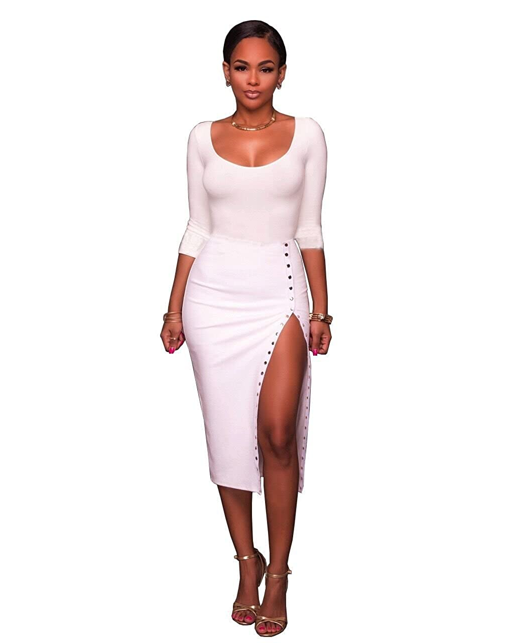 Women s 2 Piece Outfits Long Sleeve Scoop Neck Crop Top Midi Skirt Bodycon  Pencil Party Club Midi Dress at Amazon Women s Clothing store  53f22e389