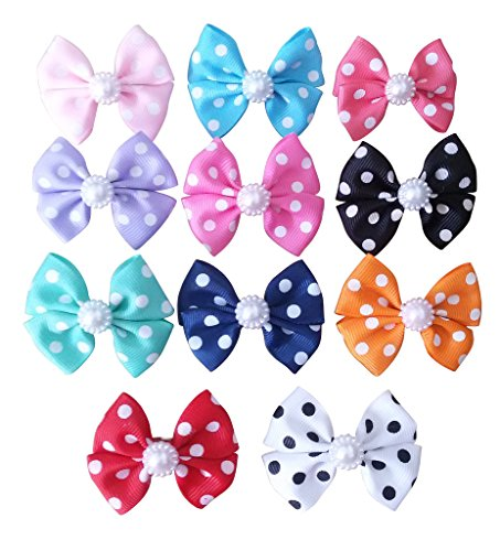 (PET SHOW Dot Small Dogs Hair Bows with Clips Bowknot French Barrette Clips for Pet Puppy Cat Grooming Hair Accessories Topknot Pack of 10)