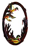 Cheap Zeckos Wood Wall Mounted Mirrors Flying Duck Hand Crafted Intarsia Wood Art Wall Mirror 26 X 41 X 2 Inches 24 X 39 X 1 Inches Brown