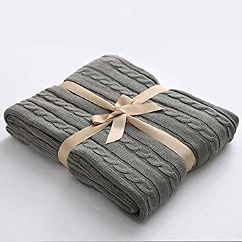 """NTBAY 100% Cotton Cable Knit Throw Blanket Super Soft Warm Multi Color(51""""x 67"""", Grey)"""