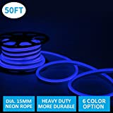 Led Neon Lights, Shine Decor Blue Rope Lights, Update Waterproof 2835 120Leds/M, 50ft, 110V, Included All Necessary Accessories, Flex Durable Super Bright For Outdoor Decor Or Commercial Use