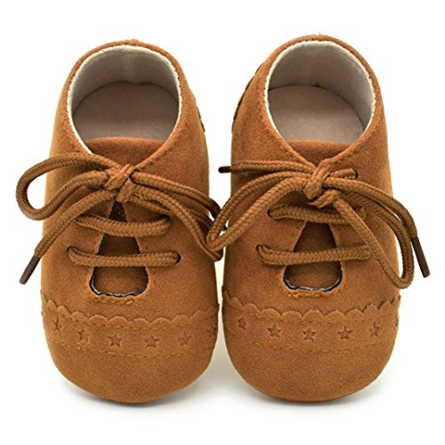 (Voberry Baby Girl Boys Lace Up Sneakers Soft Soled Anti-Slip Toddler Shoes (6~12 Month, Brown) )