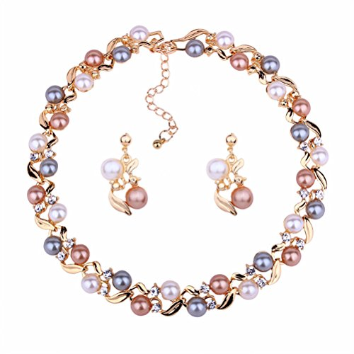 - Luxury Pearl Wedding Jewelry Set Necklace Earrings Party Wear Birthday Gift for Mother Wife (Pink)