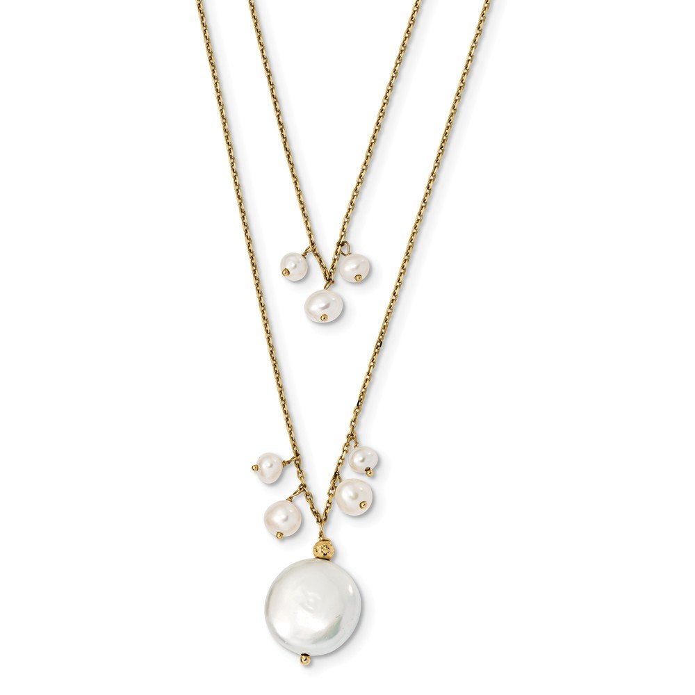 Mia Diamonds 14k Yellow Gold 13-14mm Coin and 3-4mm Rice FWC Pearl 2-strand Necklace