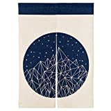 MR FANTASY Cotton Linen Noren Japanese Doorway Curtain Tapestry Modern Geometric Geometric Mountain Blue, 33x47 in