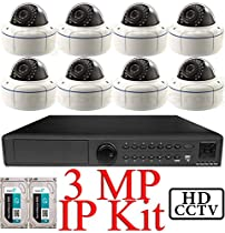 USG 3MP IP CCTV Kit: 1x 16 Ch @ 3MP NVR + 8x 3MP IP PoE 2.8-12mm Dome Cameras + 2x 3TB HDD = 6TB Total *** Ultra High Definition Video Surveillance For Your Home or Business!
