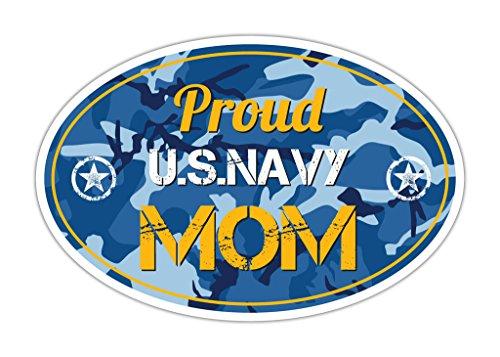 Navy Blue Camo Proud US Military Navy Mom Bumper Sticker Vinyl Decal 3