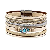 Gessppo Women Girl Multi-Layer Leather Bracelet Braided Cuff Magnetic Clasp Woven Rope Alloy Bangle Chain