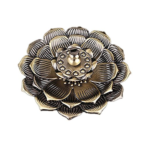 DOINSHOP Incense Holder Lotus Burner Seat Flower Statue Censer Plate for Sticks and Tower Cone (Coffee)