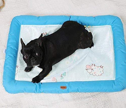 JFFFFWI Summer Pet Dog Mat Bed Dog Puppy Cooling Mat Pad Cojín Cama para Pitbull Dog House Kennel Nest (Azul, M) para Gato/Perro