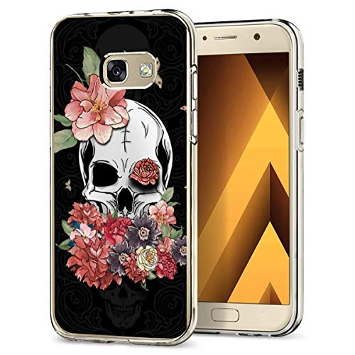 Case Compatible with Samsung Galaxy A3 2017 Case Transparent Soft TPU Silicone Skin Shockproof Bumper Cover for Samsung Galaxy A3 2017 Smartphone - Halloween Skull Flower ()