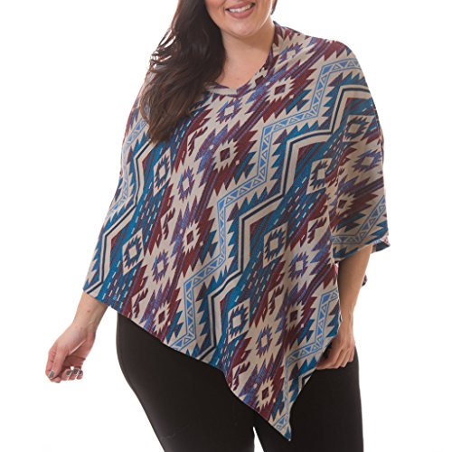[71321XR-BLU-1X] Women's Plus Size V-Neck Poncho: Southwest Design V Style Wrap