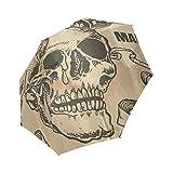 Punk Skull 100% Polyester Pongee Waterproof Foldable Travel Fashion Umbrella