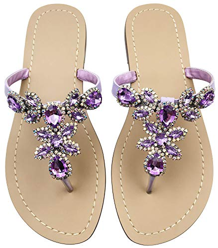 (Rhinestone Sandals for Women,Jeweled Hand Crafted Crystal Flats Sandals,Thong Sandals,Ladies Purple Size 9.5-10)