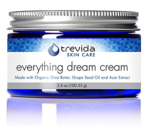 Nighttime Heel Treatment Cream (Certified USDA Organic Sensitive & Dry Skin Night Cream | No Fragrance | Repairs Cracked Heels and Dry Elbows | Grape Seed Oil & Acai Extract | Extreme Hydration | Everything Dream Cream By Trevida)