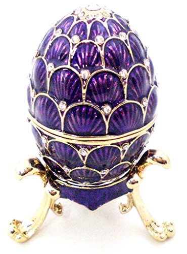 Faberge Style Egg Trinket Box with Stand, Clear Swarovski Crystal, Purple Enamel Over Pewter Base, L 1.75 X H 2.50 x W 1.75