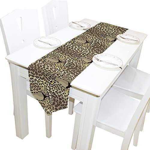 WIHVE Table Runner Rug Wild Cat Couple Leopard Skins and Heart Double Sided Table Mat for Wedding Party Holiday Decoration 13x90 inch ()