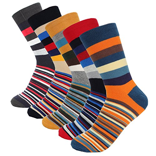 Hoyols Mens Dress Casual Socks Stripe Patterned Cotton Crew Socks Colorful Business Long Socks 5 Color Pack (M Size) Size 6-10