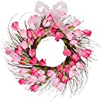 One-Holiday-Way-Pink-and-Red-Faux-Tulip-Wreath-with-Ribbon-Front-Door-Wreath-Spring-Decoration