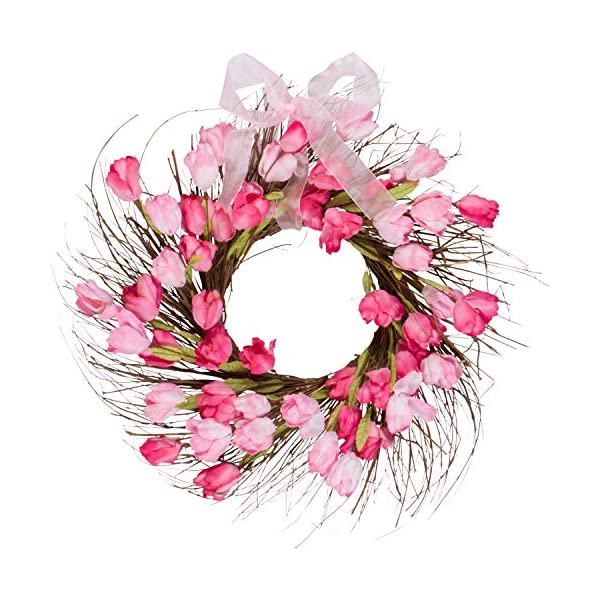 One Holiday Way Pink and Red Faux Tulip Wreath with Ribbon – Front Door Wreath Spring Decoration