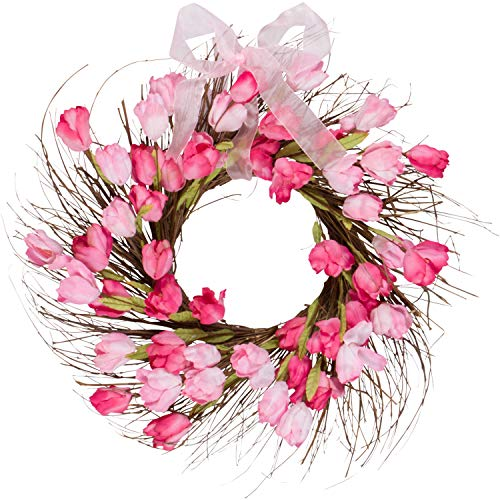 One Holiday Way Pink and Red Faux Tulip Wreath with Ribbon - Front Door Wreath Spring Decoration