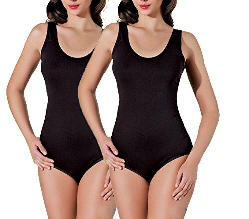 M stretch XL con senza spalline L Body S taglia b con donna Schwarz rotondo scollo maniche da w7nIq6CS