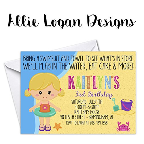 Beach Girl Swim Party Birthday Invitation - Personalize Your Character!