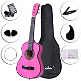 #8: ADM Starter Guitar 30 Inch Acoustic Beginner with Carrying Bag & Accessories, Pink