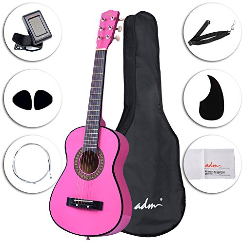 ADM Starter Guitar 30 Inch Acoustic Beginner with Carrying Bag & Accessories, Pink Child Student Steel String