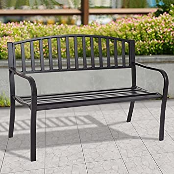 costway 50 patio garden bench park yard outdoor furniture steel slats porch chair seat