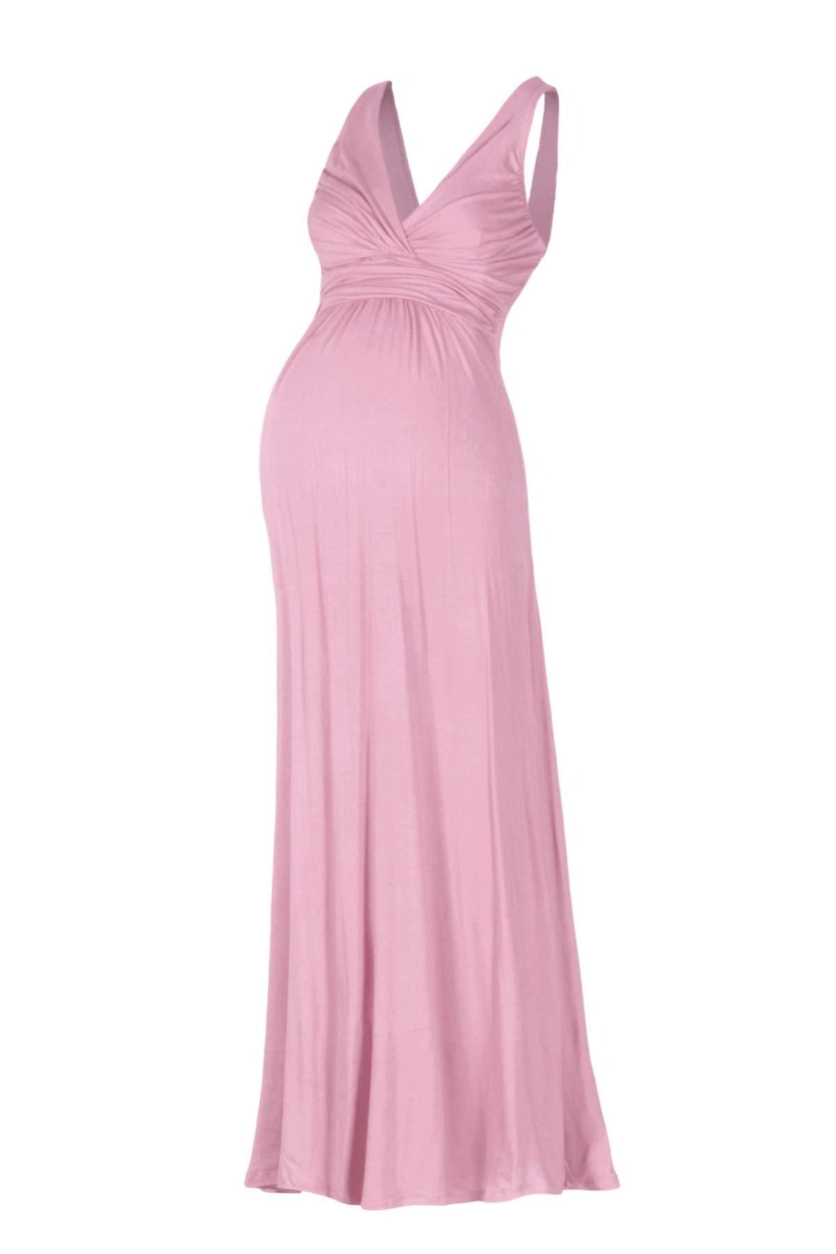 Beachcoco Women's Maternity Sleeveless V Neck Maxi Dress Made in USA (S, Mauve)