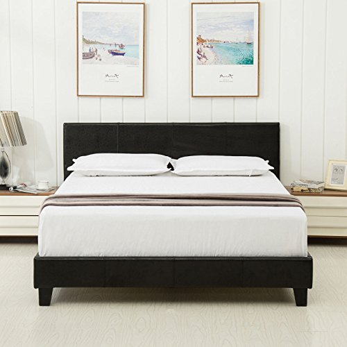 Dehors Sun Queen Size Platform Bed Metal Square Frame Upholstered Headboard Stitched Button Wooden Slats not Support Mattress Black