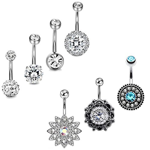 JDXN 3PCS14G Stainless Steel CZ Opal Belly Button Rings Navel Barbell Piercing Body Jewelry Women (Silver Style 1/ 7pcs/Set)