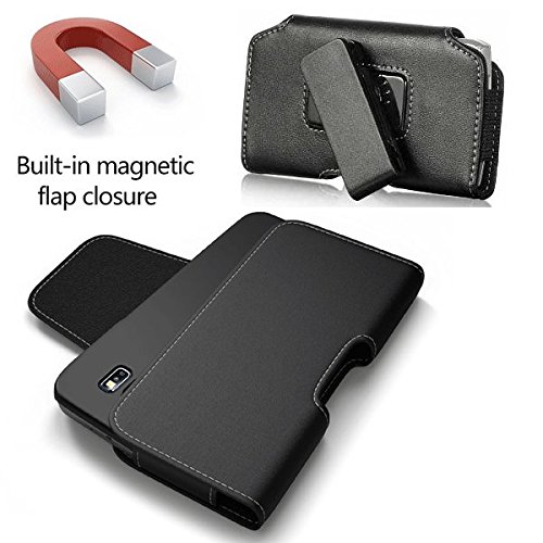 Side Load Large Horizontal Black High End Black Leather Pouch Swivel Belt Clip Holster Case ,Compatible Iphone Se 5S 5C 5, with Hybrid Protective Armor Rugged Skin Cover , Battery Case ()