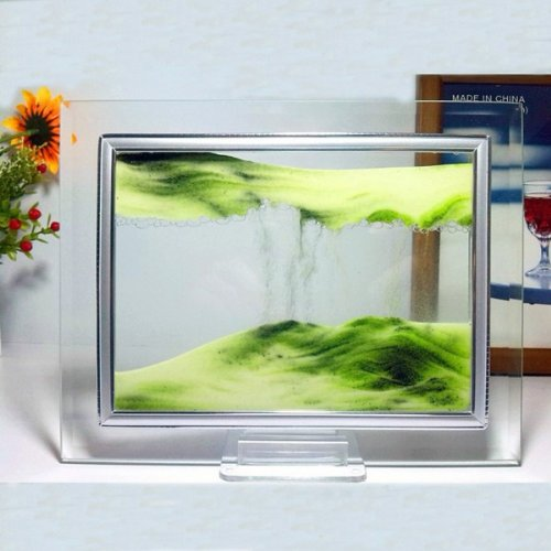 Grüne Moving Sand-Glas-Bild Home Office Schreibtisch Dekor Geburtstag Weihnachtsgeschenk w / Halter