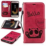 Misteem Cartoon Case Samsung Galaxy J7 2017, Cute Retro Panda Pattern Leather Cases Flip Shockproof Card Holder Bookstyle/Stand / Magnetic Wallet Cover Protector Samsung Galaxy J7 2017 - Panda Red