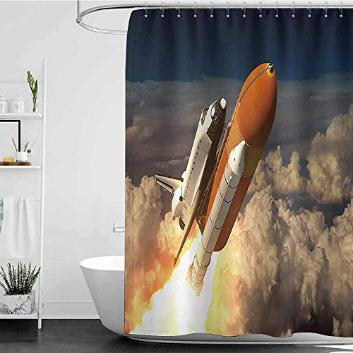 Royal Blue Shuttle - royal blue shower curtains for bathroom Outer Space Decor Collection,Space Shuttle In The Clouds Scene Historical Liftoff Enterprise Success Picture,Mustard White W48