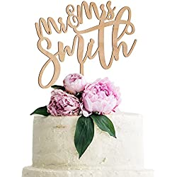 Personalized Wedding Cake Topper Customized Mr. and Mrs. Last Name 4 Color Type and 24 Colors Design 3 (Wood Colors)