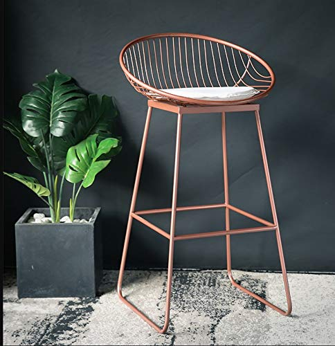 QenDsx Metal Bar Stool European Backrest High Stool Simple Cafe Bar Seat Home Dining Chair Stool - 2 Color Optional A+ (Color : Rose Gold, Size : 72cm) (Gold Color Stool)