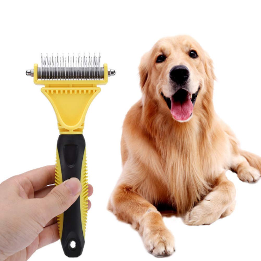 PJDDP Pet Grooming Brush, Pet Grooming Tool, Efficient Pet Hair Remove, 2 Sided Undercoat Rake for Dog, Cat, Horse(Yellow)