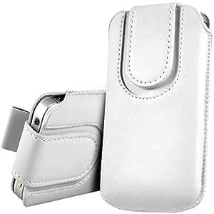 iTALKonline BLANCO Calidad PU de cuero antideslizante funda de protección bolsa con pestaña y cierre magnético para HTC Evo 3D