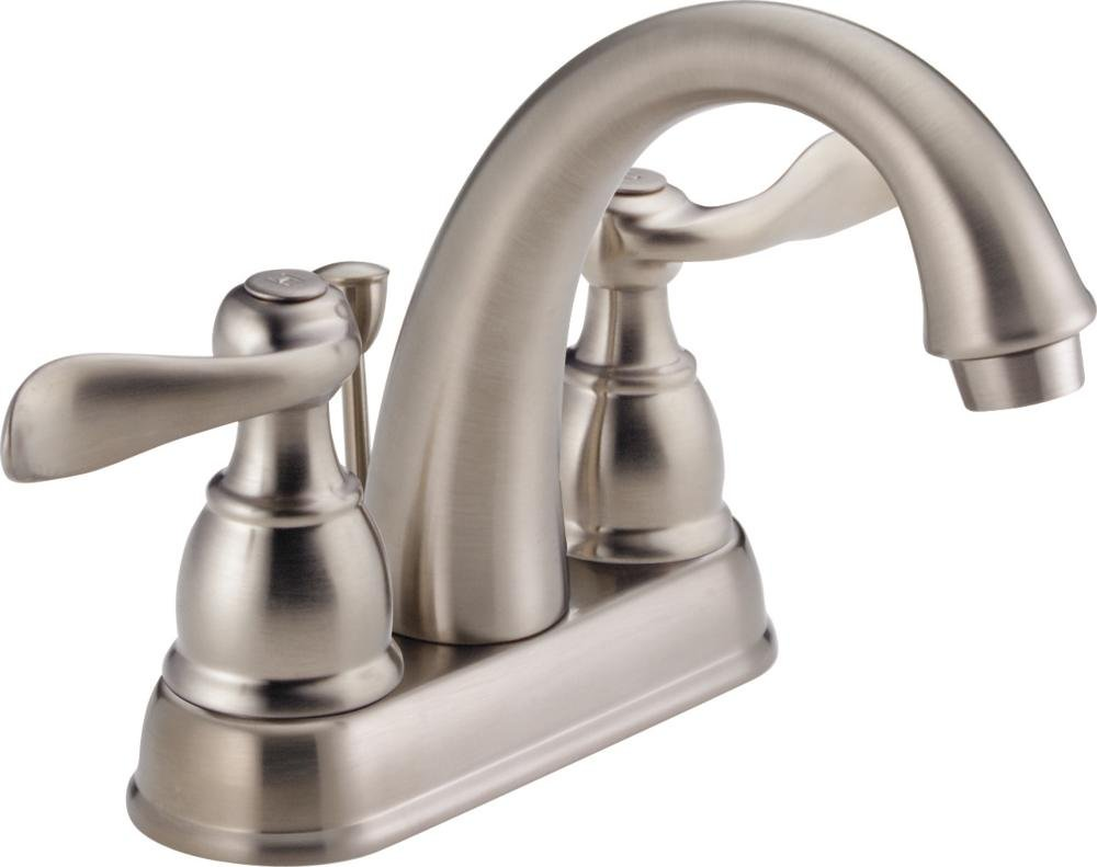 Delta Windemere 2-Handle Centerset Bathroom Faucet with Metal Drain Assembly, Stainless B2596LF-SS
