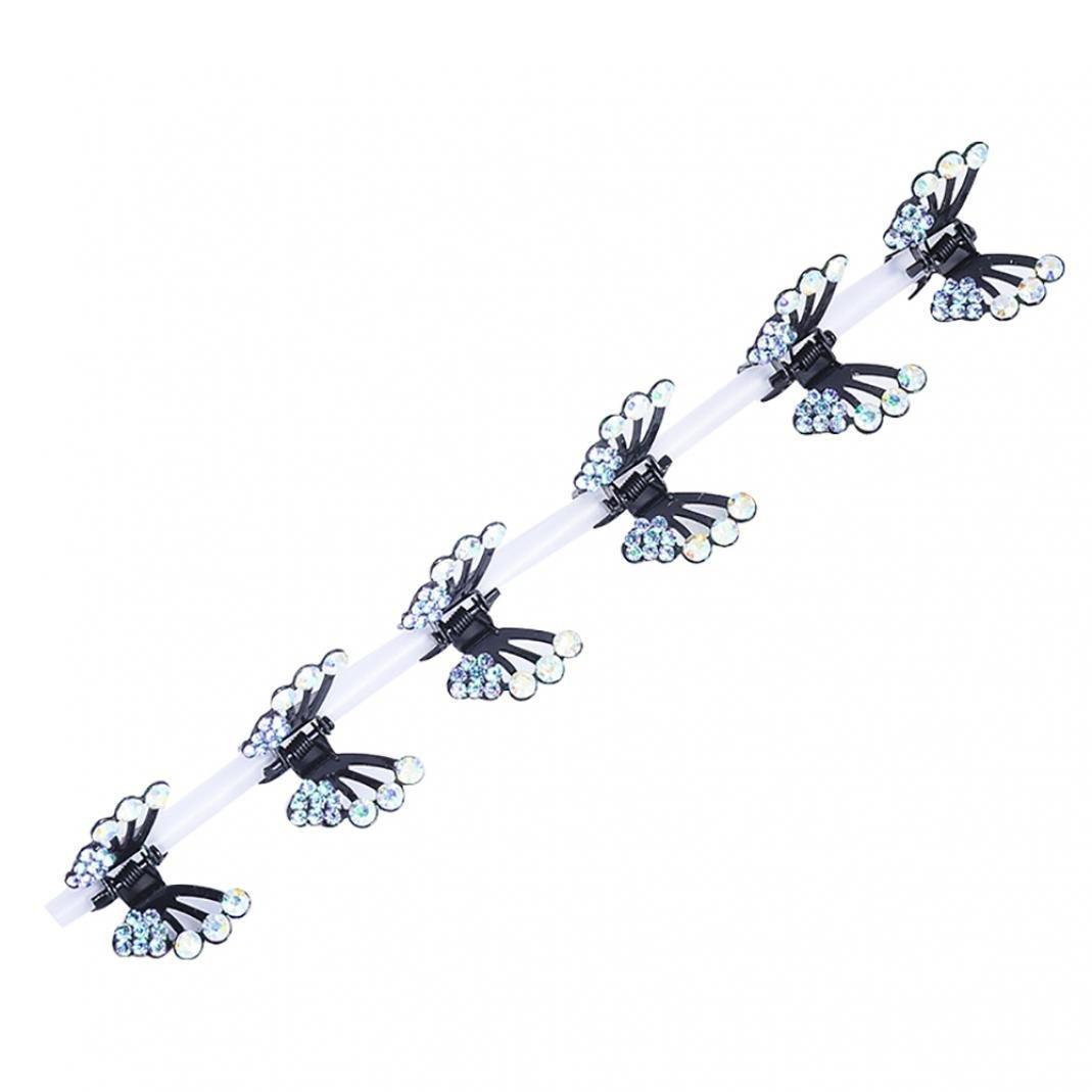 Bodhi2000® 6Pcs Kids Girls Hair Claw Clips Butterfly Rhinestone Mini Hair Clips Hair Pin Hair Accessories (Champagne)