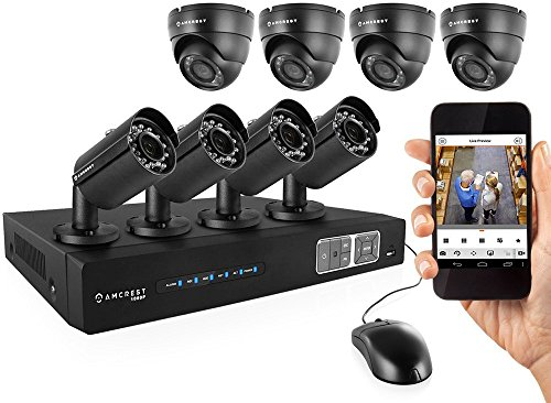 Amcrest ProHD 1080P 8CH Video Security System - Eight 2.1-Megapixel (1920TVL) Outdoor IP67 Bullet & Dome Cameras, 2TB HDD, Night Vision, Remote Smartphone Access, Black Mid (AMDV10808-4B4D-B) by Amcrest