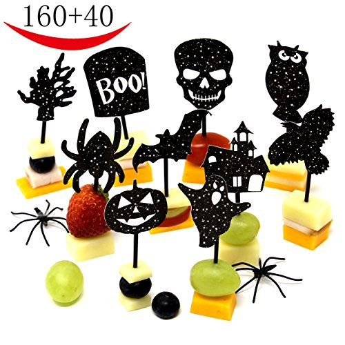 200 Halloween Party Decorations - Halloween Party Supplies 10 Designs - 160 Halloween Cupcake toppers Halloween picks - 40 Halloween napkins