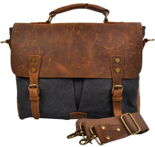 Hynes Eagle Retro Business Briefcases Canvas Leather Messenger Shoulder Bags (Khaki) by Hynes Eagle