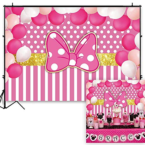 Funnytree 7x5ft Pink Bowknot Striped Party Backdrop Gold Glitter Polka Dots Princess Girl Photography Background Cartoon Mouse Balloon Baby Shower Birthday Cake Table Decoration Banner Photo Booth (Mini Mouse You Tube)