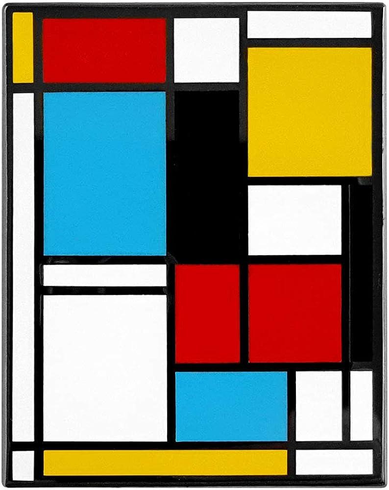 Pinsanity Mondrian Abstract Art Enamel Lapel Pin