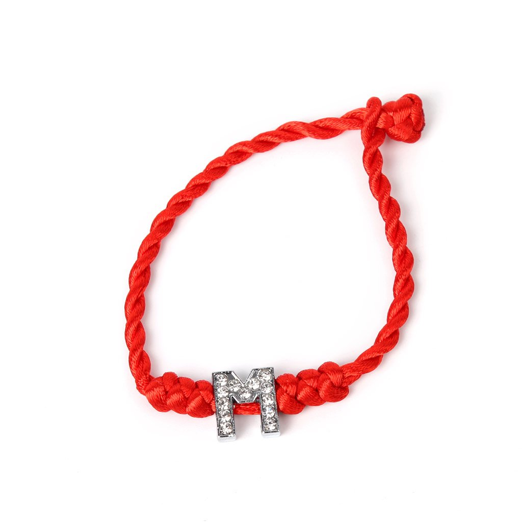 Simdoc Crystal Letters Red String Couple Bracelets,This is a blessing to the lover (M)