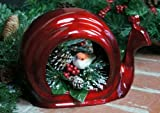 "Enchanted Snail Bird Feeder Size: 7.25"" H x 5.5"" W x 11"" D, Finish: Ruby"